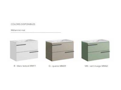Modernité et simplicité reflètent l'esprit de la collection CIMON  A suspendre ou à poser grâce à une structure en métal laqué noir, la gamme multiplie les combinaisons.  Simple vasque L800 - Double vasque L1200 mm