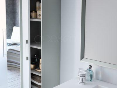 Disponible en simple vasque L600 - L800 - L1000 mm et en double vasque L1200 mm (2 meubles de 600 mm)  Meuble sous vasque avec 2 tiroirs Corps et façade en MDF (panneaux de fibres à densité moyenne) - ép. 18 mm 2 tiroirs coulissants métalliques HETTICH avec fermeture progressive Ouverture totale avec poignées en aluminium finition chromée (meuble blanc, blanc et gris, gris argent) ou laqué (meuble noir et galet) Finition extérieure en laqué mat, 3 coloris (blanc craie, blanc craie et gris argent, noir absolu)