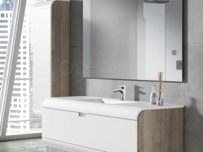 La gamme Austral joue la carte de la séduction et multiplie les codes du bien être :  Un design tout en rondeur incluant un plan vasque galbé sur la ligne du meuble.  De grands espaces de rangements qui offrent de belles solutions d'aménagement  Un blanc lumineux sur les façades à combiner avec des joeus disponibles dans 5 tonalités